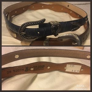 2-Belts 1)Brown 1)blue leather w/silver accents,XS